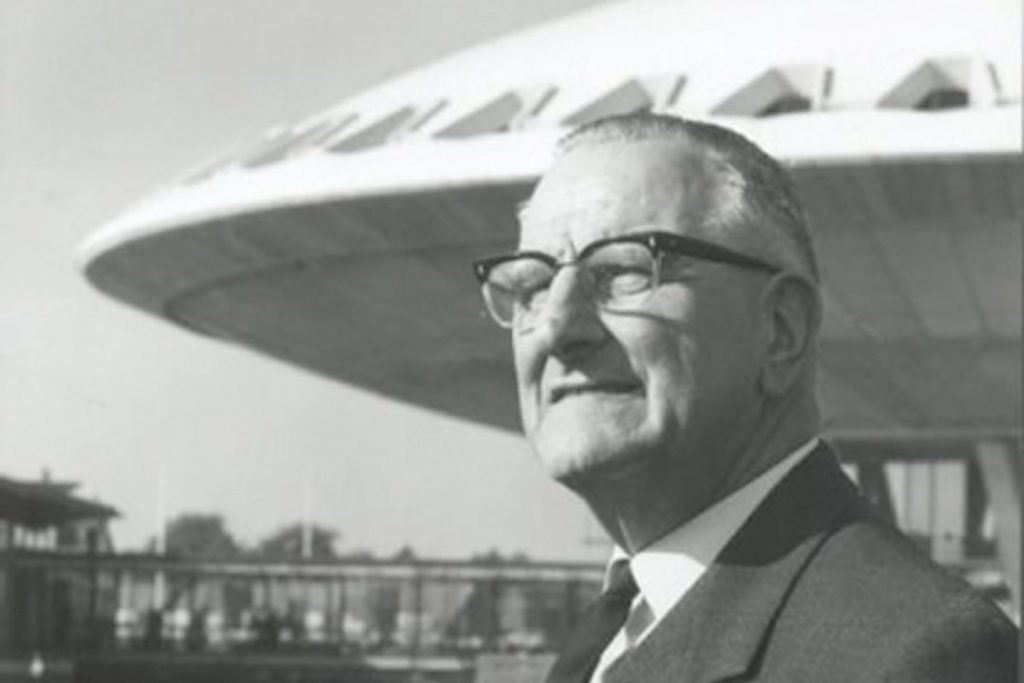 [cml_media_alt id='3066']Louis Kalff poses before his Evoluon building in the 1960s (Photo: Eindhovens Dagblad)[/cml_media_alt]