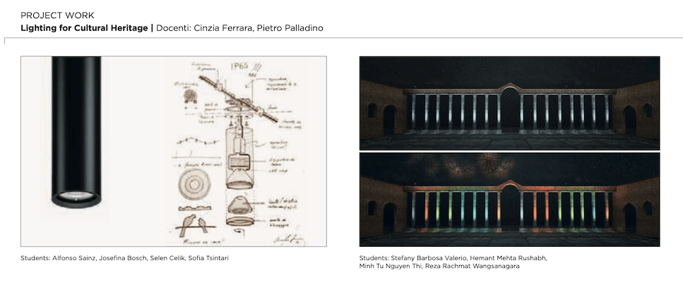 Project work, lighting for cultural heritage